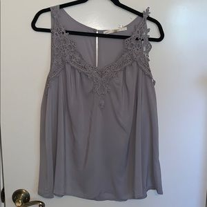 NWT Grey Sleeveless with crochet detail in front